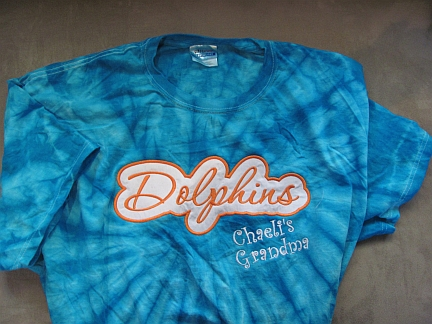 Dolphins Tie Dye T-Shirt-embroidered,tie-dye,T shirt,Dolphins