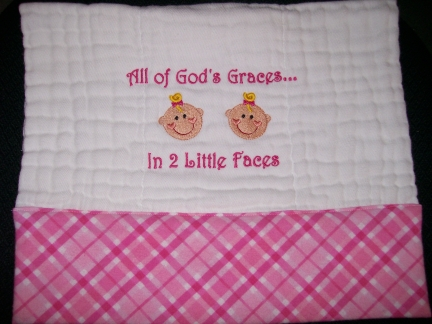 God's Graces -Twins-embroidered, burp, baby, twins