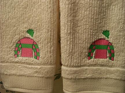 Jockey Silks towel-embroidered, towel, silks, jockey, horse race, KY Derby
