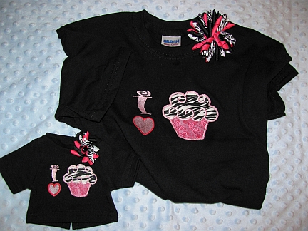 Gals 'n Dolls I Love Cupcakes Shirts-embroidered, cupcakes, matching girl & doll, T-shirt