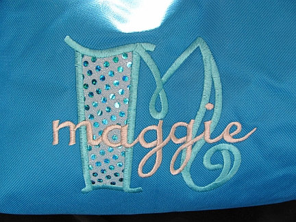 Maggiefont-embroidered, stacked monogram, font,bag, shirt