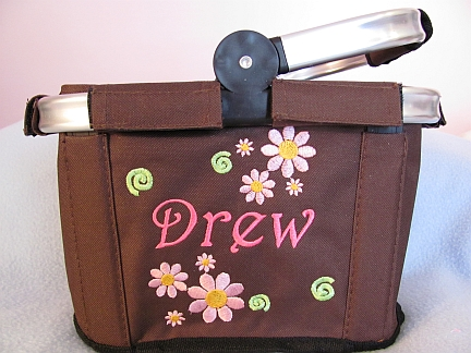 MiniTote with Add Ons--Flowers-embroidered, name, monogram, tote, bag, flowers