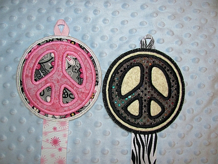 Peace Sign Bow Holder-embroidery, bow holder, peace sign, sequin, glitter