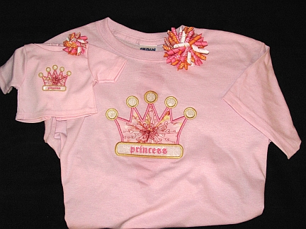 Gals 'n Dolls Princess Shirts-embroidered, princess, crown, applique, korker, bow, doll, matching, shirt
