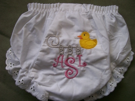 Bloomers with eyelet trim & Monogram-baby, diaper, monogram, initials, bloomer