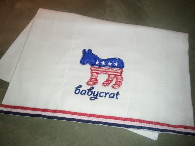 Babycrat bib & burp-democrat, baby, bib, burp, gift
