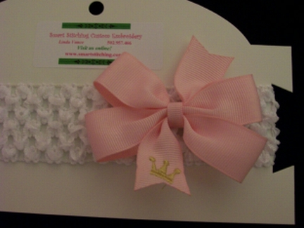 Embroidered Princess Crown Bow-bow, princess, crown