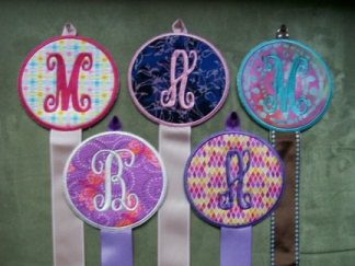 Initial Bow/Earring Holder-embroidered, bow, earring, holder, initial