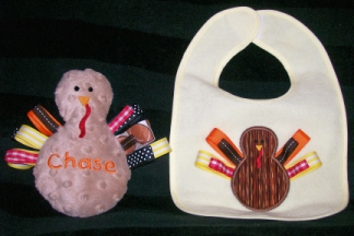 Baby Turkey-embroidered, bib, toy, turkey, ribbon, Thanksgiving, Autumn, Fall