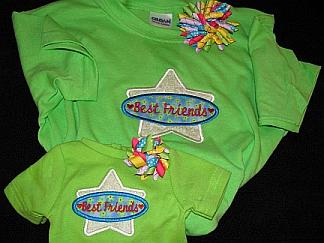 Gals 'n Dolls Best Friends Shirts-embroidered, matching, doll,clothes, T-shirt, best friends, korker, bow