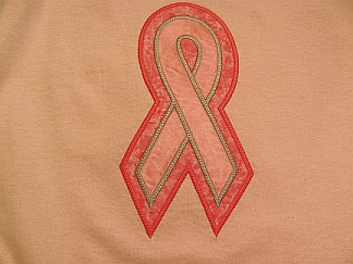 Breast Cancer Awareness Ribbon T-embroidered, breast cancer, awareness, T-shirt, applique