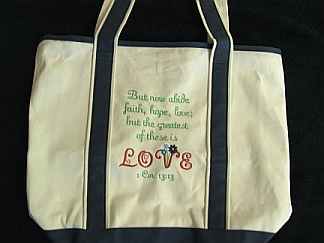 Faith Hope Love Tote-embroidered, tote, love, scripture