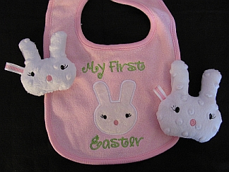 First Easter Bib & Softie-embroidered, Easter, baby, bib, bunny
