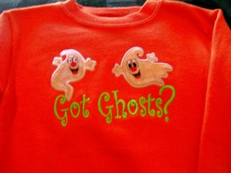 Got Ghosts?-embroidered, ghost, Halloween, orange