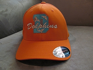 Dolphins Orange Flex-fit cap-Dolphins,cap,embroidery,name