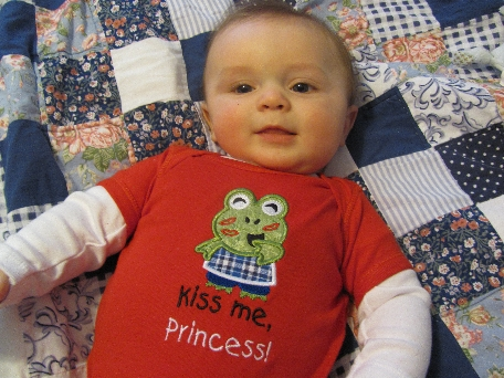 Kiss Me, Princess shirt/bib-Valentines, boy, frog, embroidered