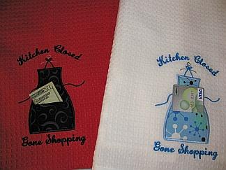 """Kitchen Closed"" dish towel-embroidered, towel, kitchen, dish, tea,apron"
