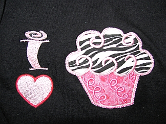 Gals 'n Dolls I Love Cupcakes Shirts close-up-embroidered, cupcake, matching girl & doll T-shirts