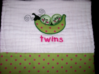 Twins - Peas in a Pod-embroidered, bib, burp, twins, baby