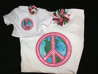 Gals 'n Dolls - World Peace-embroidered, doll, matching, T shirt, korker, bows
