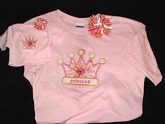 Gals 'n Dolls Princess Shirts-embroidered, princess, crown, applique, korker, bow, doll, matching, shirt