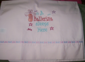 Ballerina Pillowcase-pillowcase, pillow case, ballerina, girl, embroidered