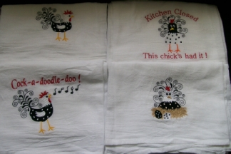 Cool Chicks Dish Towels-embroidered, towels, chicken, kitchen