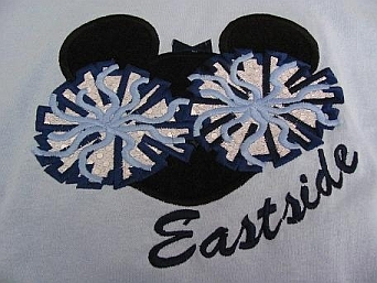 Mousehead Cheer-embroidered, cheer, mouse, pom pom, applique