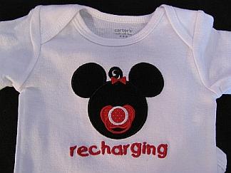 Recharging-girl-embroidered, bib, onesie, baby, mousehead