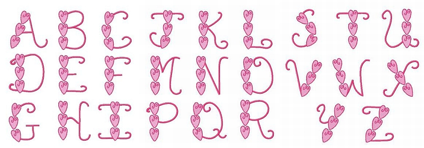 Triple Heart Font-heart, font, embroidered